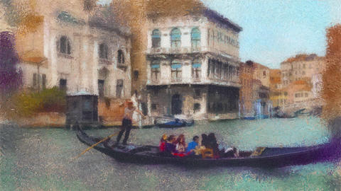 Oil painting stylization video of gondola in a canal in Venice, Italy 영상물