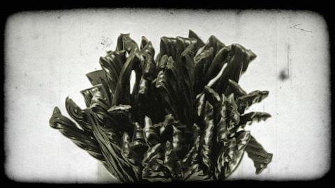 Tilting shot of a jar of licorice sticks. Vintage stylized video clip Live Action