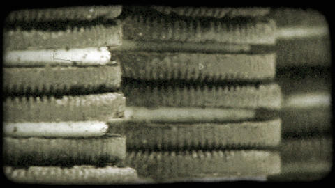 Close-up panning shot of stacks of oreo sandwich cookies. Vintage stylized video Footage