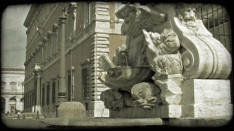 Rome Fountain 3. Vintage stylized video clip Footage
