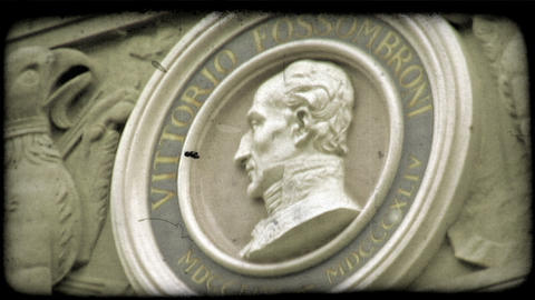 Static shot of a bust of Vittorio Fossombroni. Vintage stylized video clip Footage