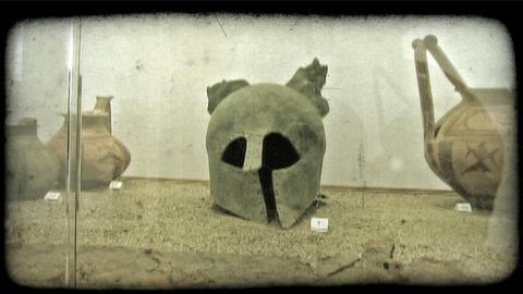 Roman Helmet. Vintage stylized video clip Live Action