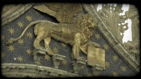 Gold Winged Lion. Vintage stylized video clip Live Action