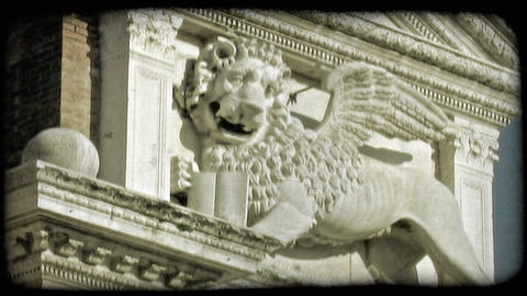 Lion Sculpture 1. Vintage stylized video clip Footage
