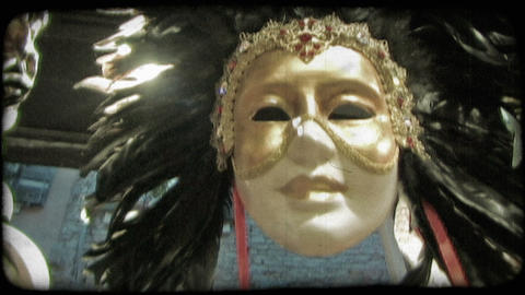 Headdress mask. Vintage stylized video clip Live Action