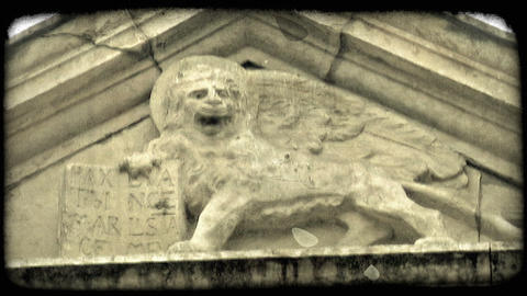 Lion Sculpture 2. Vintage stylized video clip Live Action