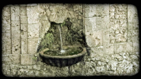 Small Fountain 1. Vintage stylized video clip Footage