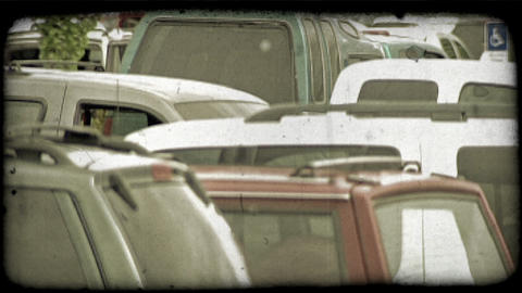 Cars in parking lot. Vintage stylized video clip Footage