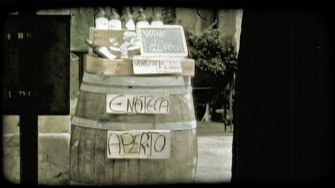Barrel and Wine. Vintage stylized video clip Footage