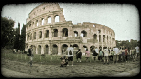 Sightseeing at the Roman Colosseum in Rome, Italy. Vintage stylized video clip Footage