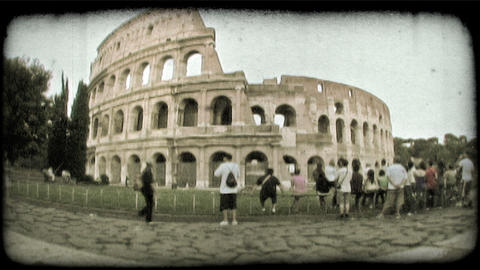 Static shot of the Roman Colosseum in Rome, Italy. Vintage stylized video clip Footage