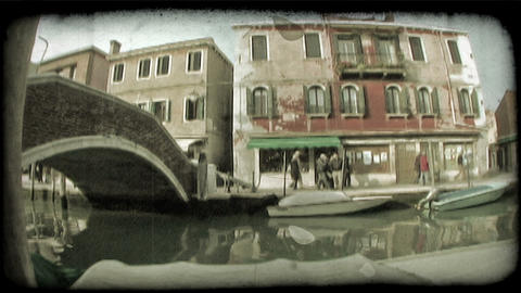 Venice Canal 4. Vintage stylized video clip Footage