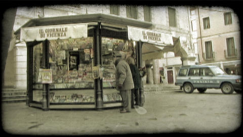 Newspaper stand. Vintage stylized video clip Live Action
