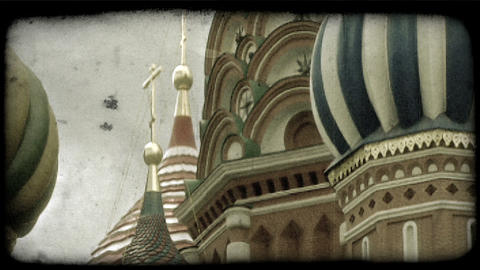 St. Basil's Cathedral 3. Vintage stylized video clip Footage