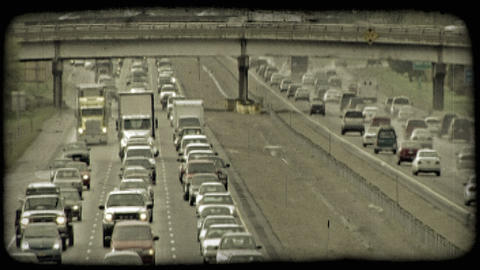 Busy city highways. Vintage stylized video clip Footage