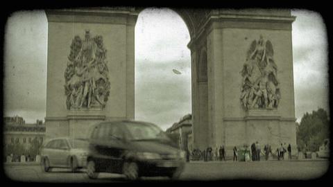 Arc de Triumph Traffic 2. Vintage stylized video clip Footage