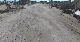 Drone Scene on destroyed abandoned city. Grey dirty street. Epecuen argentina. C Footage