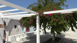 Greece Aegean Sea Cyclades Santorini Oia white bungalow with public toilets ビデオ