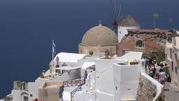 Greece Aegean Sea Cyclades Santorini Oia typical Greek church and windmill GIF