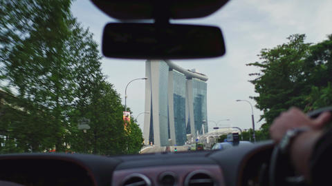 landmark view of Singapore from the car window Live Action