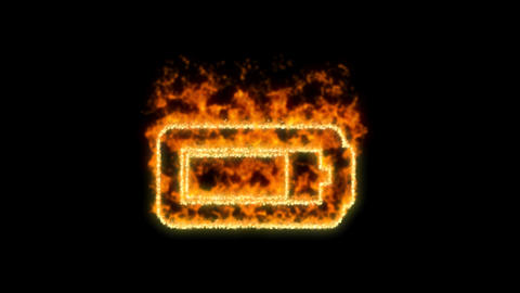 battery three quarters symbol inflames. Then disappears. In - Out loop. Alpha Animation