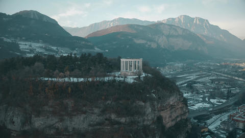 Aerial view of Doss Trento, a major historic landmark of Trento, Italy Footage