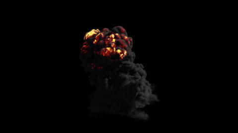 Fire Explosion With Thick Heavy Smoke Animation