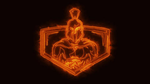 Burning Spartan Warrior Animated Logo Loop Graphic Element Animation