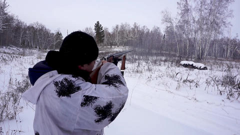 Hunter shoots a gun Footage