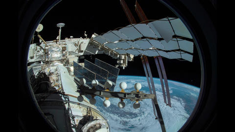 Earth as seen through window of International Space Station ISS . Elements of Footage