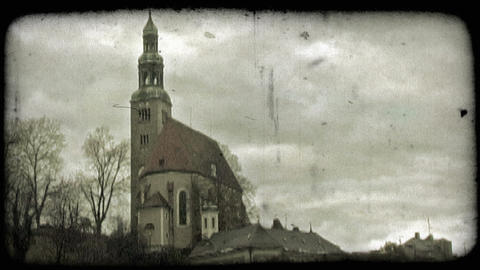 Salzburg church 1. Vintage stylized video clip Footage