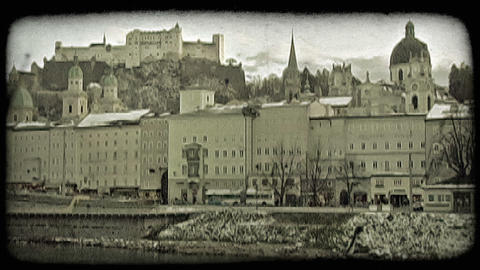 Old town Salzburg 1. Vintage stylized video clip Footage