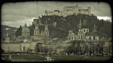 Old town Salzburg 2. Vintage stylized video clip Footage