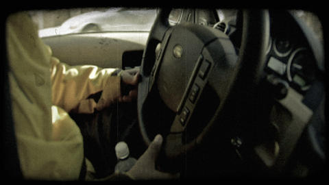SUV steering wheel. Vintage stylized video clip Live Action