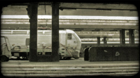 Train Station 3. Vintage stylized video clip Live Action
