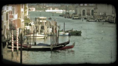 Venice Canal 1. Vintage stylized video clip Footage