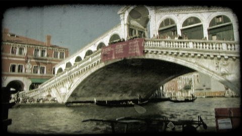 Venice Bridge 1. Vintage stylized video clip Footage