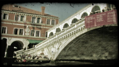 Venice Bridge 2. Vintage stylized video clip Footage
