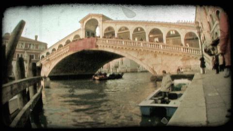 Venice Bridge 3. Vintage stylized video clip Footage