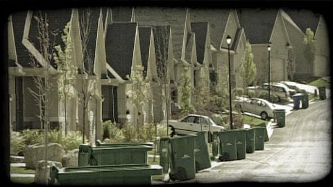Street of identical housing units. Vintage stylized video clip Footage