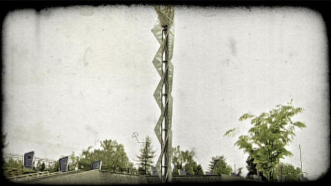 Olympic torch statue. Vintage stylized video clip Live Action