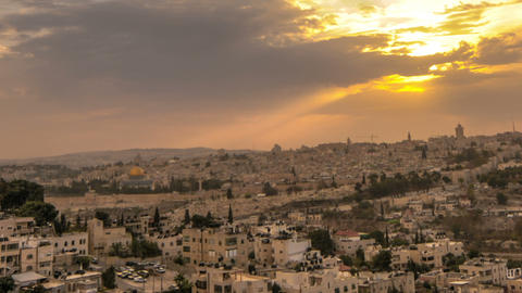 Cloudy sunset above Jerusalem. Cropped Footage