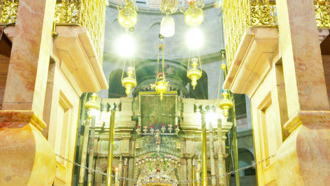 Panning shot of Entrance of the Edicule of the Holy Sepulchral time-lapse of tou Footage