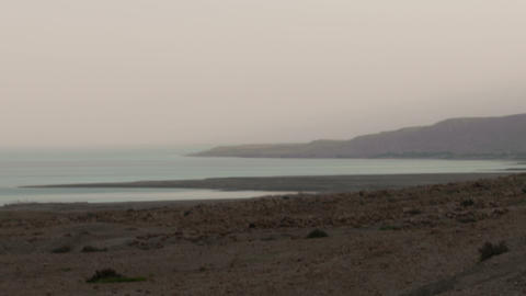 Time lapse of fog on the banks of the Sea of Galilee. Cropped Footage