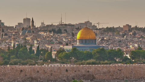 Panning shot of Time-lapse of the Dome of the Rock from the Mount of Olives Footage