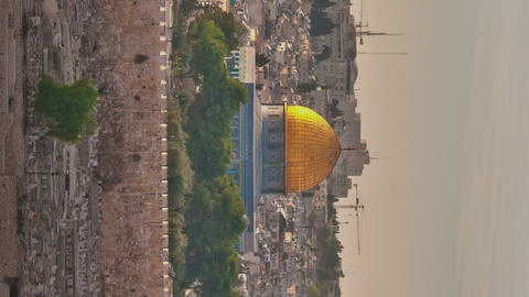 Vertical shot of Time-lapse of the Dome of the Rock from the Mount of Olives Footage