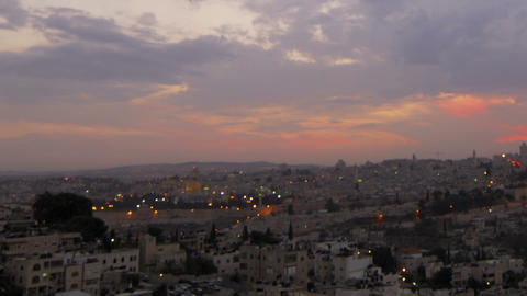 Sunset time-lapse of Jerusalem from the BYU Jerusalem center. Cropped Footage