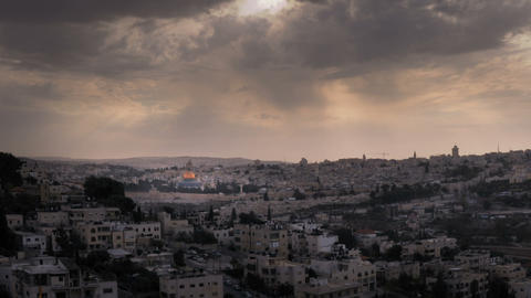 Panning shot of Time-lapse of the city and sun rays from the BYU Jerusalem cente Footage