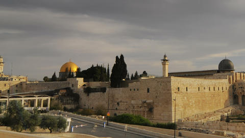 Low-angle time lapse of street below Dome of the Rock. Cropped Live Action