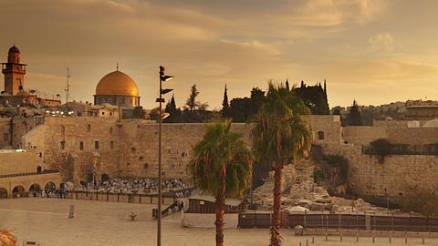 Time lapse of sunrise over Old Jerusalem. Cropped Footage